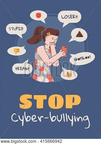 Stop Cyberbullying - Sad Girl Reading Bully Texts On Social Media