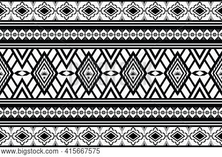 Geometric Design Pattern Fabric Ethnic Oriental Traditional Abstract Black And White. For Embroidery