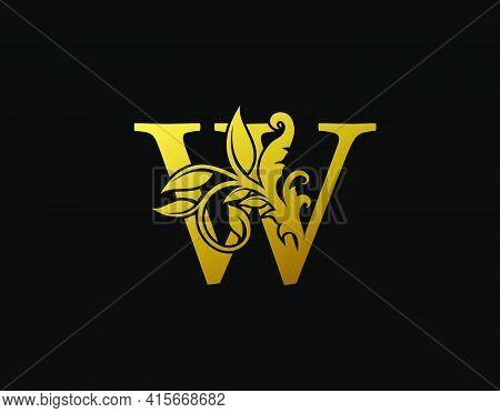 Luxury W Letter Design. Graceful Ornate Icon Vector Design. Vintage Drawn Emblem For Book Design, Br