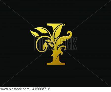 Luxury I Letter Design. Graceful Ornate Icon Vector Design. Vintage Drawn Emblem For Book Design, Br
