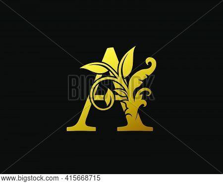 Luxury A Letter Design. Graceful Ornate Icon Vector Design. Vintage Drawn Emblem For Book Design, Br