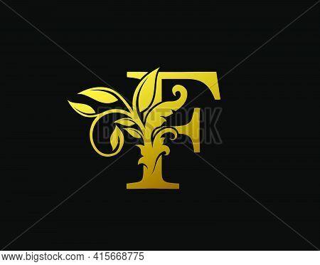 Luxury F Letter Design. Graceful Ornate Icon Vector Design. Vintage Drawn Emblem For Book Design, Br