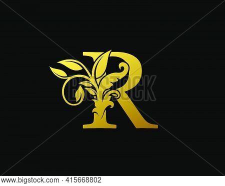 Luxury R Letter Design. Graceful Ornate Icon Vector Design. Vintage Drawn Emblem For Book Design, Br