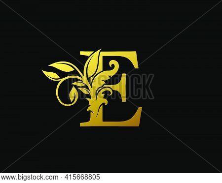 Luxury E Letter Design. Graceful Ornate Icon Vector Design. Vintage Drawn Emblem For Book Design, Br