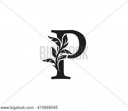 Classic Letter P Heraldic Logo. Vintage Classic Ornate Letter Vector.