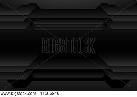 Abstract Metal Texture Modern Black Design Futuristic Technology Background. Vector Illustration