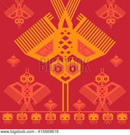 Traditional Peruvian Fabric. Beautiful Blanket With A Peruvian Design. Tribal Art, Ethnic Vector Tex