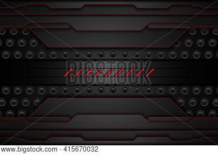 Metal Plate Black And Contrast Red Stripes On Steel Mesh. Template Modern Technology Design Backgrou