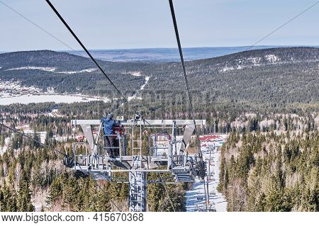 Nizhny Tagil, Russia-april 3, 2021: Signalmen Install Warning System, Loudspeakers On Support Of Cha