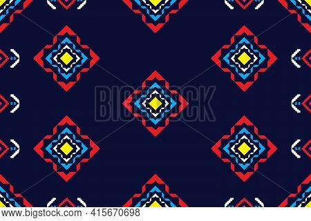 Geometric Design Pattern Fabric Ethnic Oriental Traditional Seamless For Embroidery Style, Curtain,