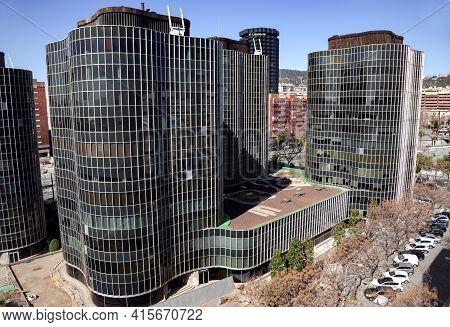 Spain, Barcelona, March, 2021 - Complex Of Modern Office Buildings On Diagonal Avenue In Barcelona,