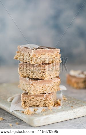 Healthy Protein Granola Flapjack Snack Bars. Snack For Yoga, Fitness And Sports People, Fitness Bar,