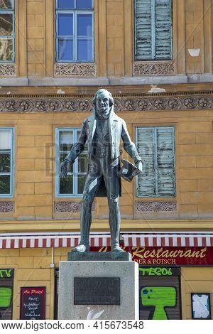 Vienna, Austria - April 25, 2015: Statue Of Johann Nestroy In The First District Of Vienna, Austria.