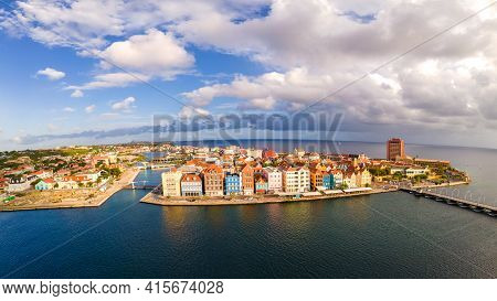 Willemstad, Curacao. Dutch Antilles. Colorful Buildings Attracting Tourists From All Over The World.