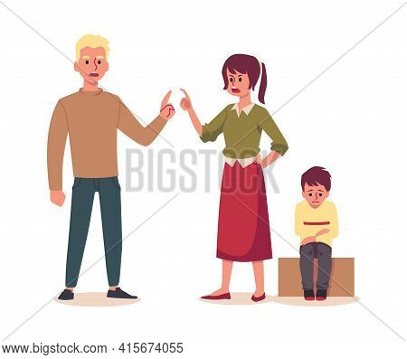 Married Couple Argue In Presence Of A Child, Flat Vector Illustration Isolated.