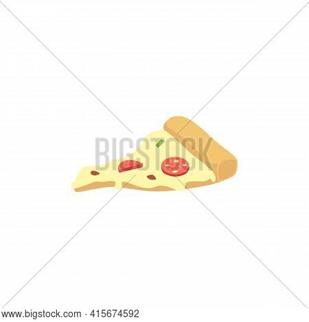 Salami Pizza Slice With Sausage Slices On Top Flat Vector Illustration Isolated.