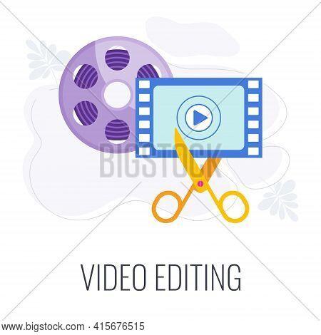 Video Editing Icon. Scissors Cut Film, Montage.