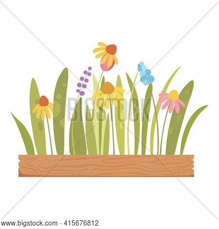 Flower On Wood Pot Icon. Cartoon Of Flower On Wood Pot Vector Icon For Web Design Isolated On White