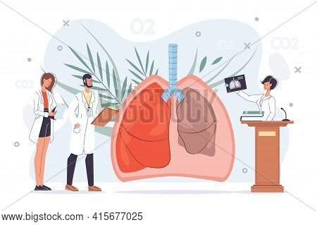 Cartoon Flat Doctor Characters At Work, Physicians With Medical Devices In Uniform Lab Coats Study L