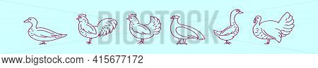 Set Of Fowl Cartoon Icon Design Template With Various Models. Modern Vector Illustration Isolated On