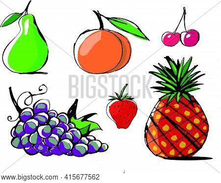Ilustración Plana De Distintas Frutas, Pera, Melocotón, Cereza, Uva, Fresa, Piña
