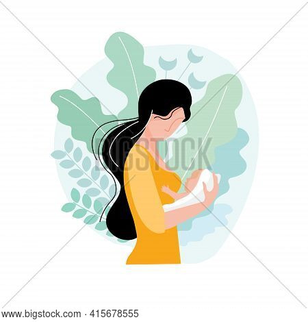 Young Mother With Baby In Her Arms Vector Flat Illustration On Abstract Background Of Leaves Isolate