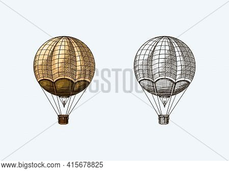 Vintage Hot Air Balloon. Vector Retro Flying Airship With Decorative Elements. Template Transport Fo