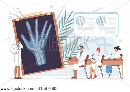 Vector Cartoon Flat Doctor Characters At Work In Uniform Lab Coats Study X-ray Image-disease Prevent