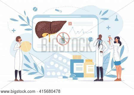 Vector Cartoon Flat Doctor Characters At Work In Uniform, Lab Coats Study Liver-disease Prevention,