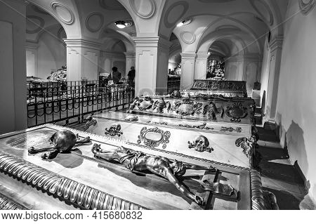 Vienna, Austria - Apr 26, 2015:  Crypt Of The Habsburger Kings In Vienna, Austria. The Bones Of 145