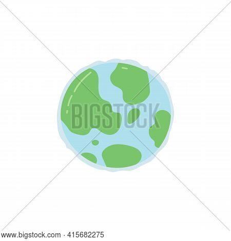 Cartoon Earth Globe Or Alien Similar Planet A Flat Vector Illustration