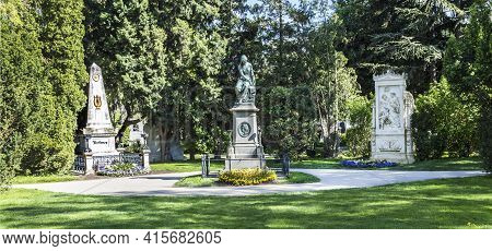 Vienna, Austria - April 26, 2015:  Last Resting Place Of Composer Ludwig Van Beethoven And Franz Sch