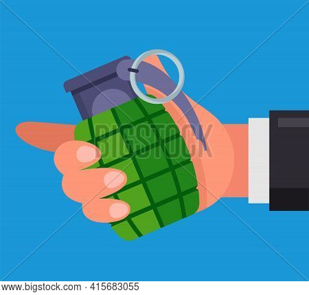 Man Holds A Combat Grenade In His Hand. Threatens To Blow Himself Up. Flat Vector Illustration.
