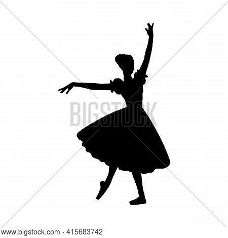 Ballerina Silhouette, Dance Woman Dancer Ballet A Vector Isolated Illustration