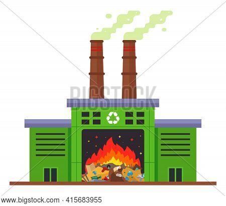 Waste Incineration Plant And Emission Of Harmful Substances Into The Atmosphere. Flat Vector Illustr