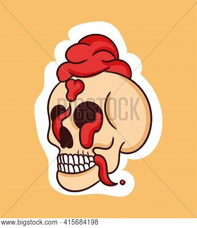 Colorful Dead Skull Sticker With Brain Coming Out Of Head. Old School Style Of Art. Stylish Vintage