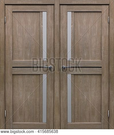 Entrance Double Door (interior Wooden Door) Isolated On White Background