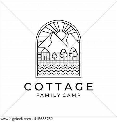 Cottage Or Cabin Line Art Minimalist Simple Vector Logo Illustration Design. Badge Cottage At Mounta