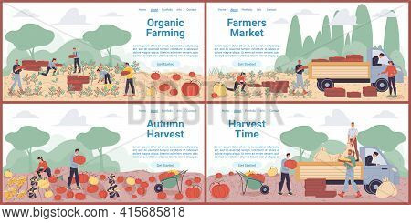 Vector Cartoon Flat Farmer Characters Harvesting, People Workers Harvest Vegetables, Load Them On Tr