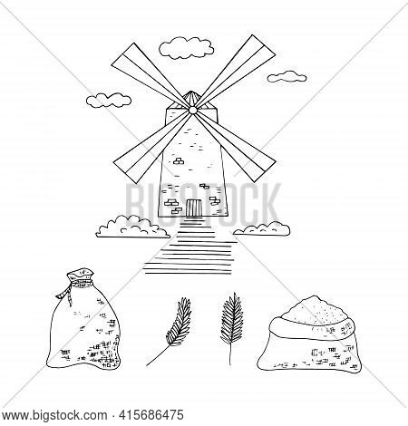 Mill, Sacks Of Flour, Spikelets Set Icon. Hand Drawn Doodle Style. Vector, Minimalism, Monochrome, S