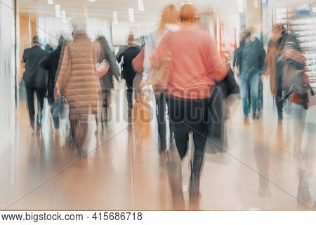 Abstract Defocused Motion Blurred People Walking In Shopping Center, Urban Lifestyle, Consumerism Co