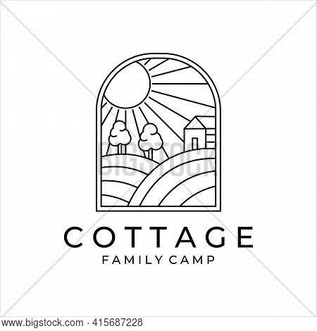 Cottage Or Cabin Line Art Minimalist Simple Vector Logo Illustration Design. Badge Cottage At Hill I