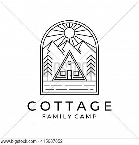 Cottage Or Cabin Line Art Minimalist Simple Vector Logo Illustration Design. Cottage At Mountain For
