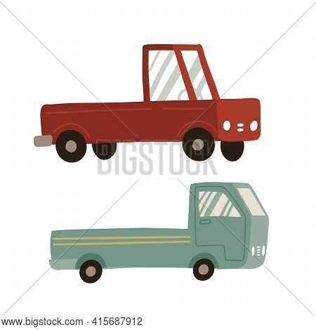 Pickup Truck Set. Two Icons Of Pickup Isolated On White Background. Cargo Truck For Delivery Service