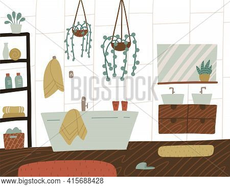 Scandinavian Or Nordic Style Interior Of Bathroom. Hand Drawing Cozy Bathroom With Homeplants. Carto