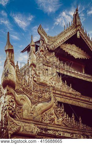 The Mandalay Royal Palace Of The Last Burmese Monarchy In Myanmar. Historic Burmese Building With Go