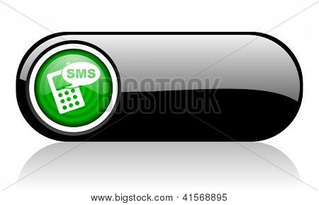 sms black and green web icon on white background