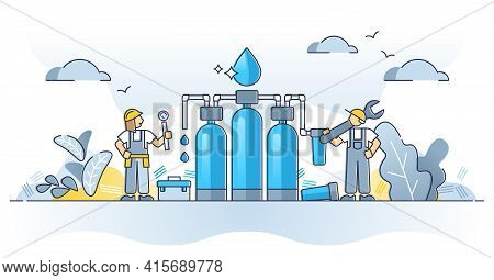 Water Purification System For Clean, Fresh And Safe Drinking Outline Concept