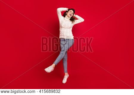 Full Length Photo Of Sweet Cute Young Lady Wear Collar Pullover Dancing Jumping High Arms Hands Head