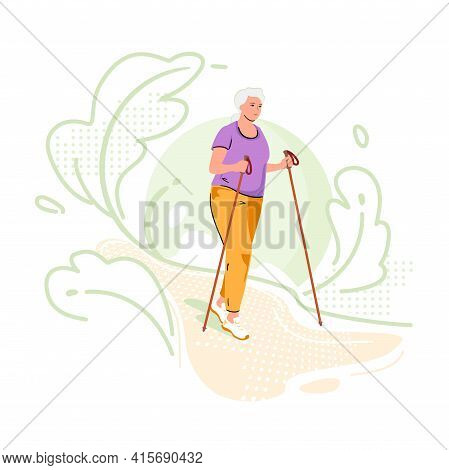 Elderly Woman Is Engaged In Nordic Walking In Nature Green Background. Fitness For Pensioner. Active